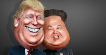 Caricature of President Trump and Kim, Source: Donkey Hotey, Flickr, https://bit.ly/2HahK8g