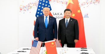 President Donald J. Trump joins Xi Jinping, President of the People's Republic of China, at the start of their bilateral meeting Saturday, June 29, 2019, at the G20 Japan Summit in Osaka, Source: The White House, Flickr, https://bit.ly/2Zrfikf