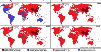 Countries that recognise Taiwan vs the PRC over time. Source: Wikimedia Commons