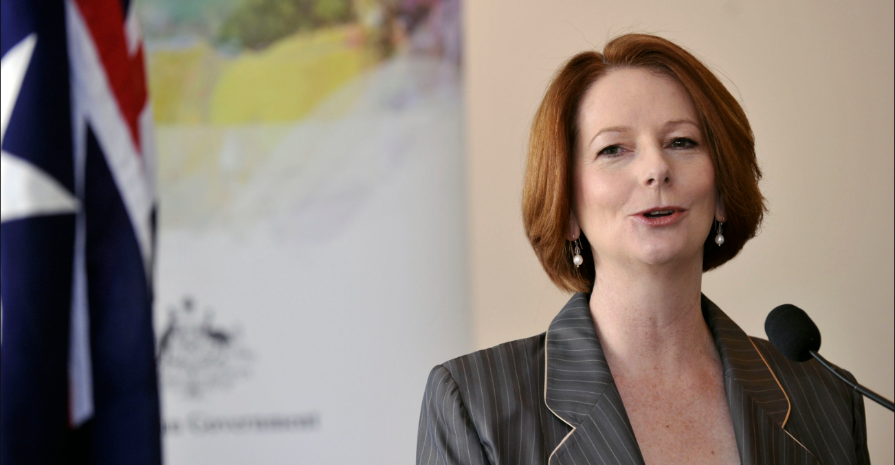 Julia Gillard speaking at the lanch of the Australian Multicultural Council. Source: Kate Lundy https://bit.ly/39zvLrJ