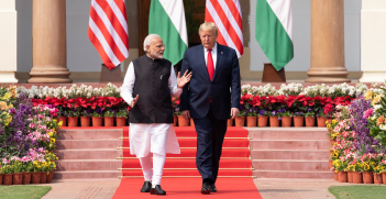 President Donald J. Trump and Indian Prime Minister Narendra Modi walk together from Hyderabad House to deliver a joint press statement Tuesday, Feb. 25, 2020, on the lawn of Hyderabad House in New Delhi. Source: Shealah Craighead https://bit.ly/2PLkQ7d