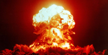 US nuclear weapons test in Nevada in 1953. A 23-kiloton tower shot is fired at the Nevada Test Site. Source: US Government https://bit.ly/3axq3Yi