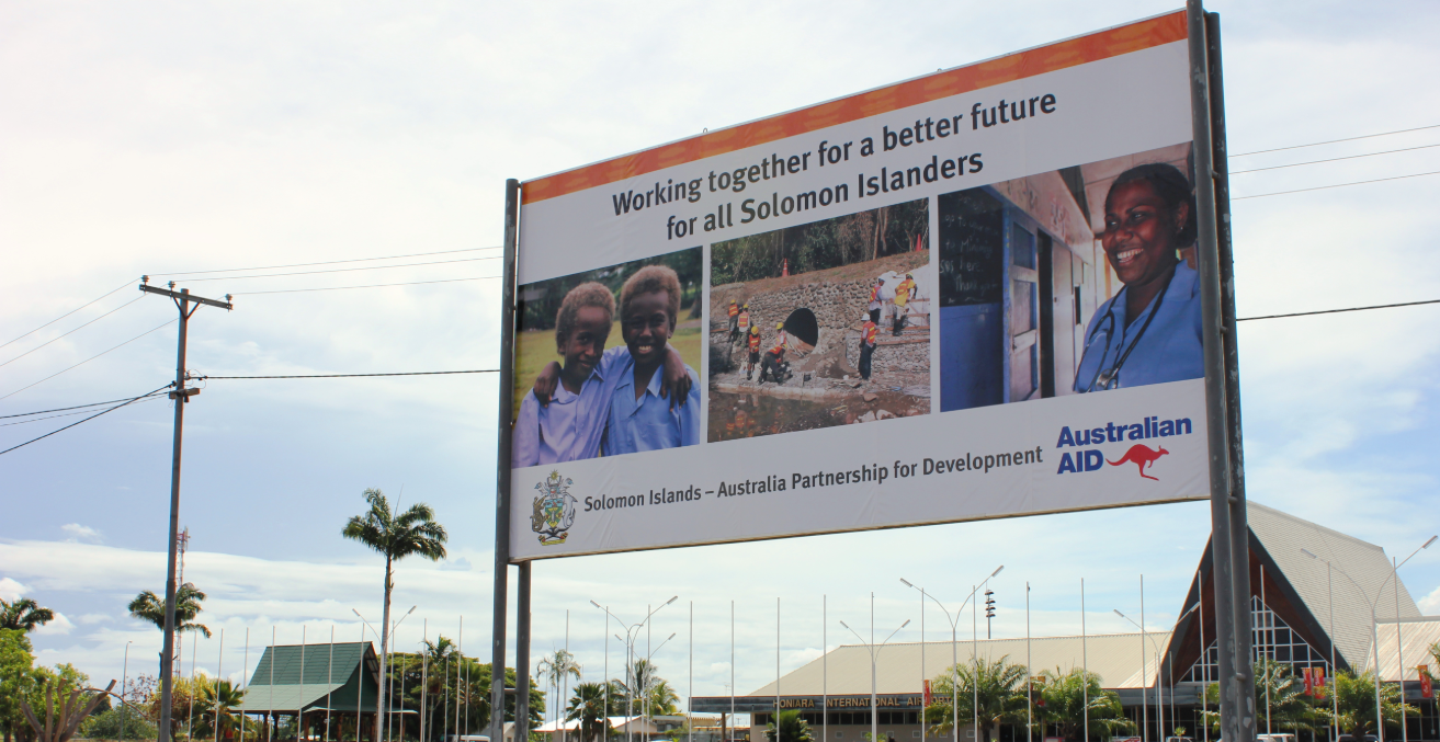 Australian aid billboard in Honiara, Solomon Islands, 2012. Source: Yvonne Green/DFAT https://bit.ly/33GVVay