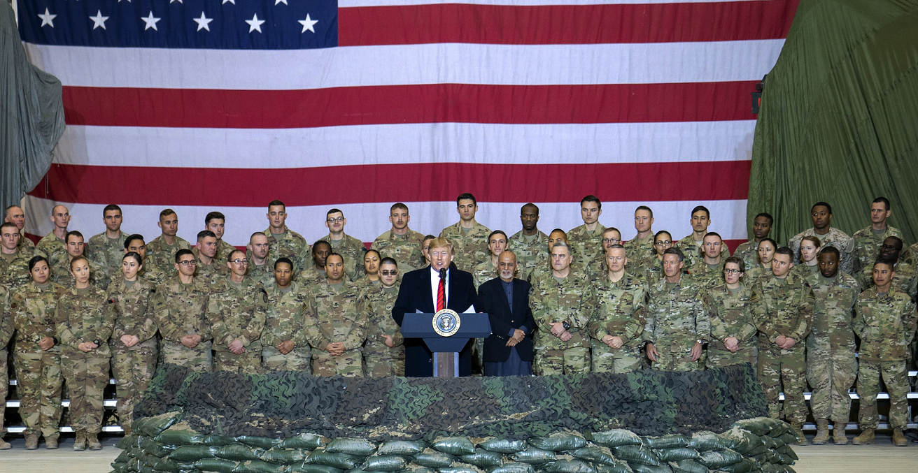 President Donald J. Trump addresses service members at Bagram Airfield, Afghanistan, Nov. 28, 2019. Source: Navy Petty Officer 1st Class Dominique A. Pineiro https://bit.ly/3bIVA9V