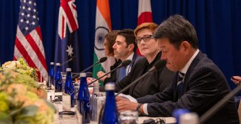 U.S. Secretary of State Michael R. Pompeo hosts a Quad Meeting with Australian Foreign Minister Marise Payne, Indian External Affairs Minister Subrahmanyam Jaishankar, and Japanese Foreign Minister Toshimitsu Motegi, at the Palace Hotel, in New York City, New York on September 26, 2019. Source: Ron Przysucha https://bit.ly/36GPAgL