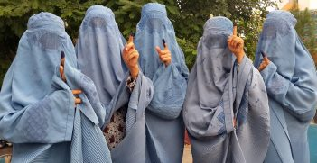 Women show inked fingers after voting in Herat, Afghanistan. Source: USAID https://bit.ly/2SYVKTJ
