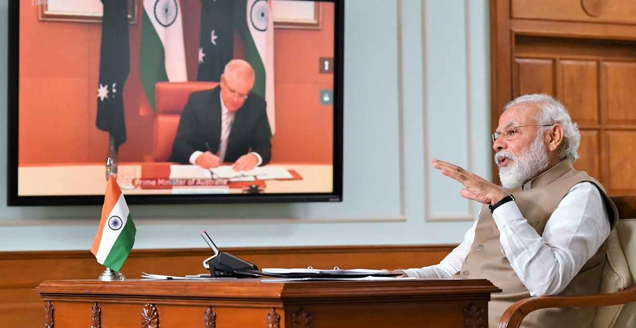 Indian Prime Minister Narendra Modi meets with Australian Prime Minister Scott Morrison via video conference on June 4, 2020.  Source: Ministry of External Affairs https://bit.ly/2YDsbt1