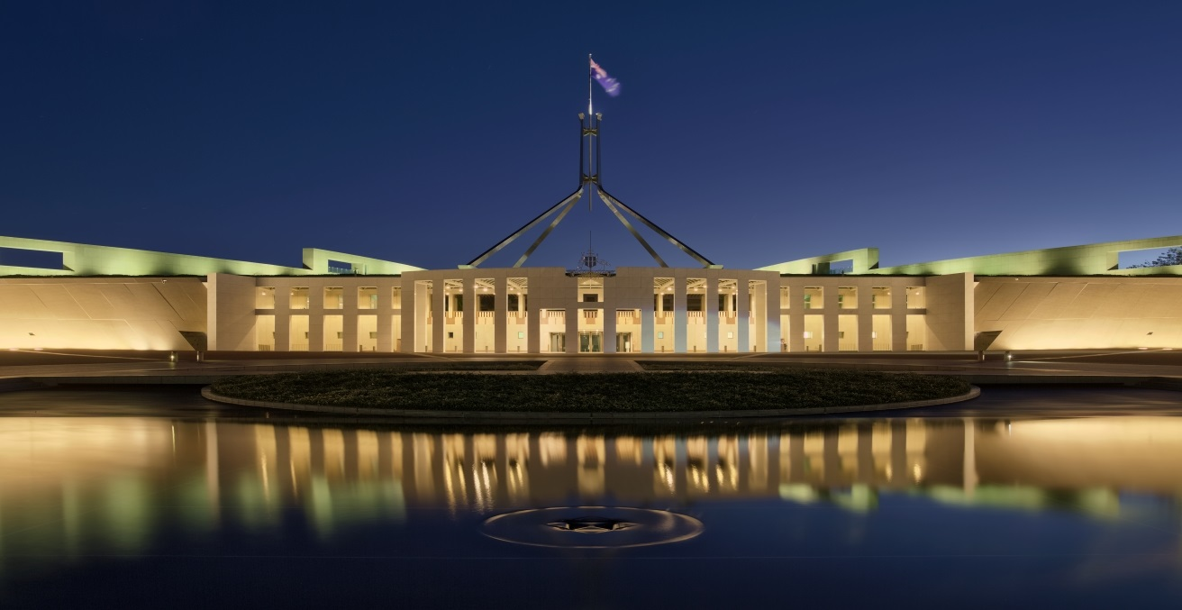 Parliament House At Dusk, Canberra ACT Source: Thennicke https://bit.ly/2ZsyTT3