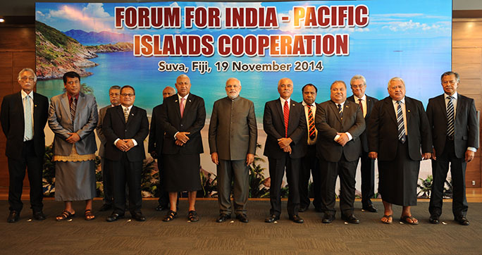 The first meeting between the heads of state from India and the Pacific Islands at Suva, Fiji in November 2014. Photo: https://bit.ly/2Xq0807