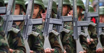 Soldiers marching holding rifles. Source: Orlock, Shutterstock.com
