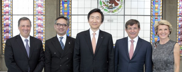 The Minister for Foreign Affairs of Mexico, Jose Antonio Meade; the Minister for Foreign Affairs of Indonesia, Marty Natalegawa;  the Minister for Foreign Affairs of the Republic of Korea, Yun Byung-se; the Minister for Foreign Affairs of Turkey, Ahmet Da