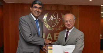 India's Ambassador Rajiva Misra hands over to IAEA Director General Yukiya Amano the instrument of ratification of India's Additional Protocol with the IAEA. IAEA, Vienna, Austria. 25 July 2014. Image Credit: Dean Calma (IAEA)