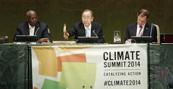 Secretary-General Ban (centre) chairs one of the segments of the UN Climate Summit 2014. He is flanked by Sam Kahamba Kutesa (left), President of the sixty-ninth session of the General Assembly; and Robert Orr, Assistant Secretary-General for Strategic Planning. Image credit: Flickr (Climate Summit 2014)