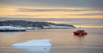 Antarctic Survey Vessel Wyatt Earp Surveying Newcomb Bay.