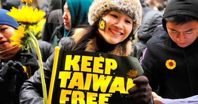 Taiwanese activists protested the passing of the Cross-Strait Service Trade Agreement (CSSTA) by the ruling party Kuomintang at the legislature. The protesters perceived the trade pact with the People's Republic of China would hurt Taiwan's economy and leave it vulnerable to political pressure from Beijing. 31 March 2014. Image credit: Flickr (Jimmy Kang)