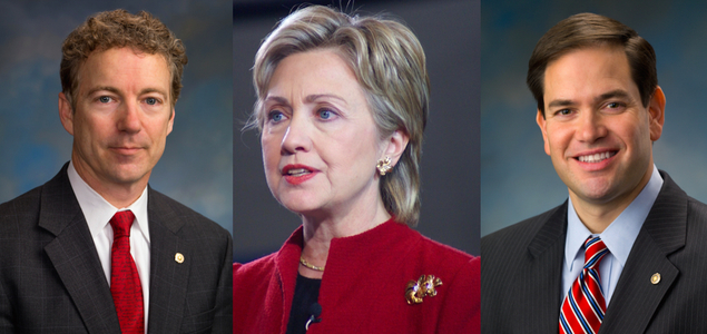 Rand Paul, Hillary Clinton and Marco Rubio. Image credit: US Senate and Marc Nozell, Creative Commons.