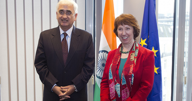 Press conference with former EU High Representative Catherine Ashton and former Indian Minister for External Affairs, Salman Khurshid. Image credit: Flickr (European External Action Service) Creative Commons.