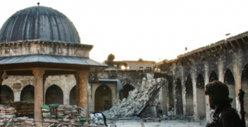 The minaret at the Grand Mosque in Aleppo was destroyed in the fighting. Photo Credit: Wikipedia (Gabriele Fangi, Wissam Wahbeh) Creative Commons.