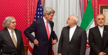 John Kerry and Mohammad Javad Zarif during Iranian nuclear negotiations. Photo Credit: Wikimedia Commons (US Department of State) Creative Commons.
