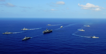 Malabar naval exercises: U.S. Carrier Strike Group Ronald Reagan with the Indian Navy. Photo Credit: Wikipedia (U.S. Navy) Creative Commons