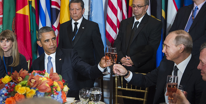 United States President Barack Obama and Vladimir V. Putin, President of the Russian Federation, share a toast at a luncheon hosted by Secretary-General Ban Ki-moon in honour of world leaders attending the general debate of the General Assembly. Photo Credit: Flickr (United Nations Photo) Creative Commons