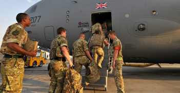 Troops Board RAF C17 Transport Aircraft enroute to Afghanistan. Photo Source: (Flickr) Defence Images. Creative Commons.