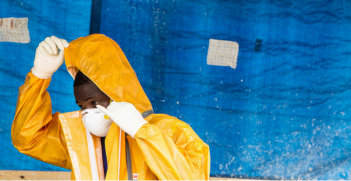 PST1 Ebola treatment unit ( ETU) run by the Ministry of Health and the Armed Forces of Sierra Leone. Photo Source: UNMEER (Flickr). Creative Commons.