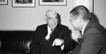 Menzies meets with US Secretary of Defense Robert McNamara at the Pentagon in June 1964. Photo Source: Wikimedia. Creative Commons.