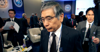 Bank of Japan Governor Haruhiko Kuroda arrives at IMFC plenary at IMF headquarters in Washington. Photo Source: International Monetary Fund (Flickr). Creative Commons.