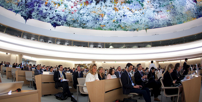 United Nation Human Rights Council in Geneva, Switzerland. Photo source: United States Mission Geneva (Flickr). Creative Commons.
