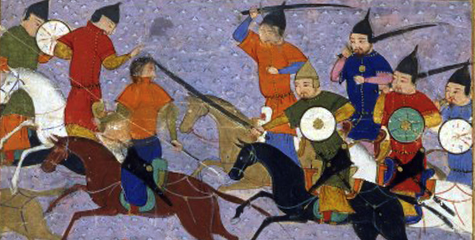 Battle between the Mongol and Jin Jurchen armies. Photo source: Rishad-al-Din Hamadani (Wikimedia). Public domain.