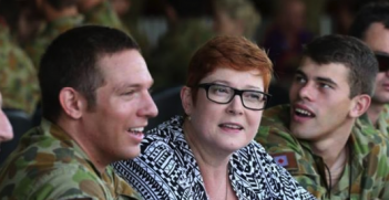 Minister for Defence Marise Payne visits Australian troops. Photo source: Marise Payne (Facebook). Creative Commons.