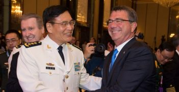 Secretary of Defense Ash Carter Deputy Chief of the Peoples Liberation Army (China) General Staff Adm. Sun Jianguo. Photo credit: Ash Carter (Flickr) Creative Commons