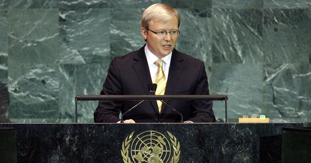 Kevin Rudd, Prime Minister of Australia, addresses the general debate of the sixty-fourth session of the General Assembly. 23/Sep/2009. United Nations, New York. UN Photo/Marco Castro. www.unmultimedia.org/photo/