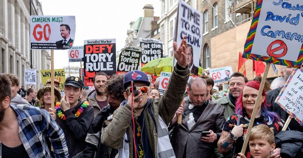 Protest inspired by release of the Panama Papers in England. Photo credit: The Weekly Bull (Flickr) Creative Commons