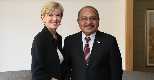Julie Bishop with Peter O'Neill Photo Credit: Department of Foreign Affairs and Trade (Wikimedia Commons) Creative Commons