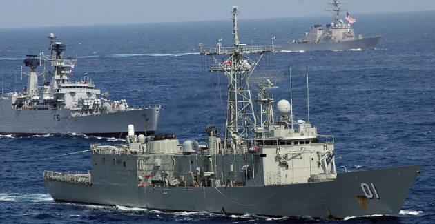 Australian, Indian and US ships in Malabar 2007. United States Navy (Wikimedia Commons) Creative Commons.