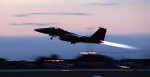A U.S. Air Force F-15E Strike Eagle takes off from Aviano Air Base, Italy, for an air strike mission in support of NATO Operation Allied Force on March 28, 1999 (Wikimedia Commons)