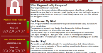 Screenshot of a computer infected by the WannaCry ransomware (WikimediaCommons)