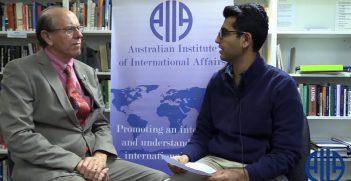 Senator the Hon David Coltart speaks to Australian Outlook Editor Karan Dhamija / Pic: AIIA
