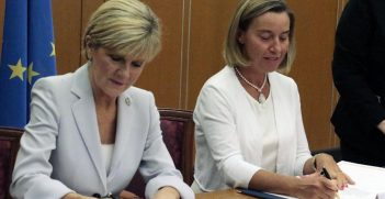 Julie Bishop and Federica Mogherini sign the EU-Australia Framework Agreement / Pic: EAAS