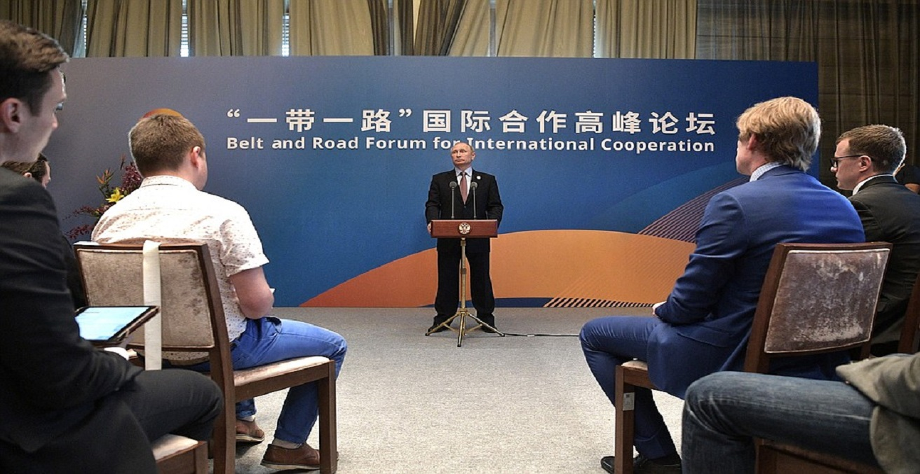 President Vladimir Putin speaking at the Belt and Road Forum