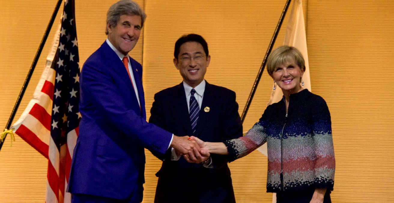 Former Secretary John Kerry with former Japan Minister Fumio Kishida and Australian Minister Julie Bishop