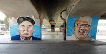 A mural of Donald Trump and Kim Jong-un