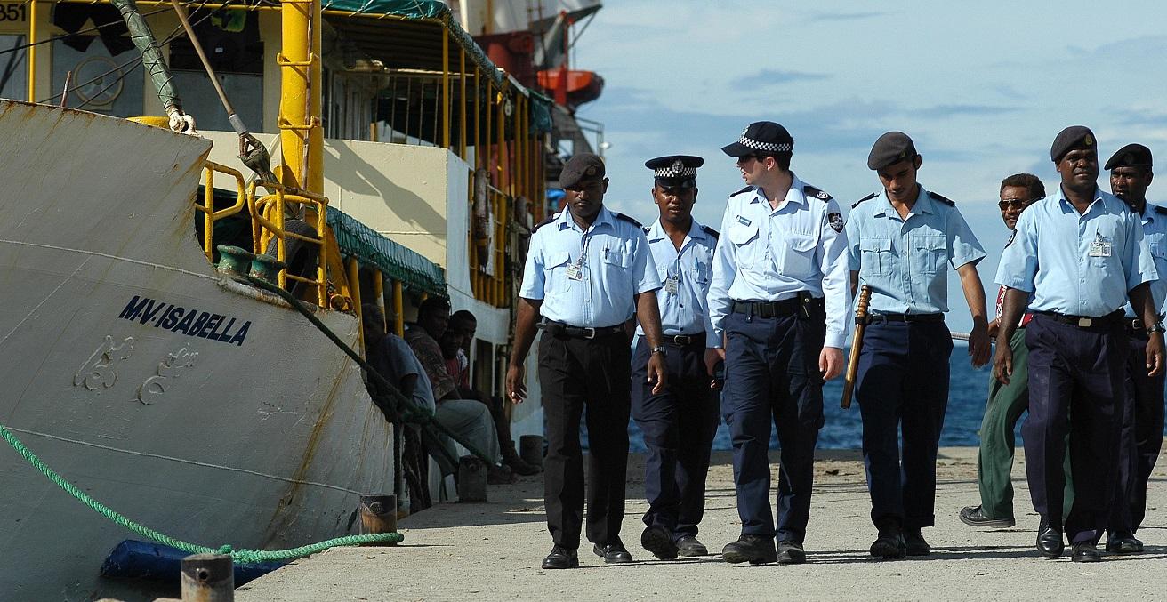 RAMSI and Royal Solomon Islands Police patrol Honiara waterfront