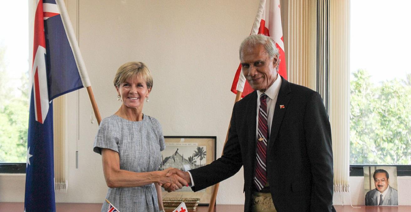 Julia Bishop meets with Tongan Prime Minister Akilisi Pohiva in 2015