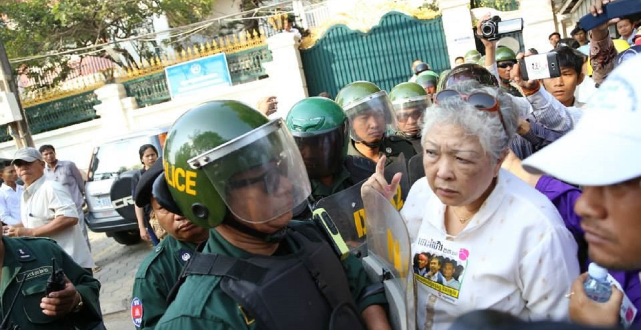 A protest is blocked by Police in Phnom Penh, Cambodia