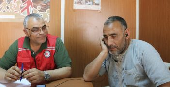 Zaatari refugee camp: An ICRC office provides phone call services to Syrian refugees.