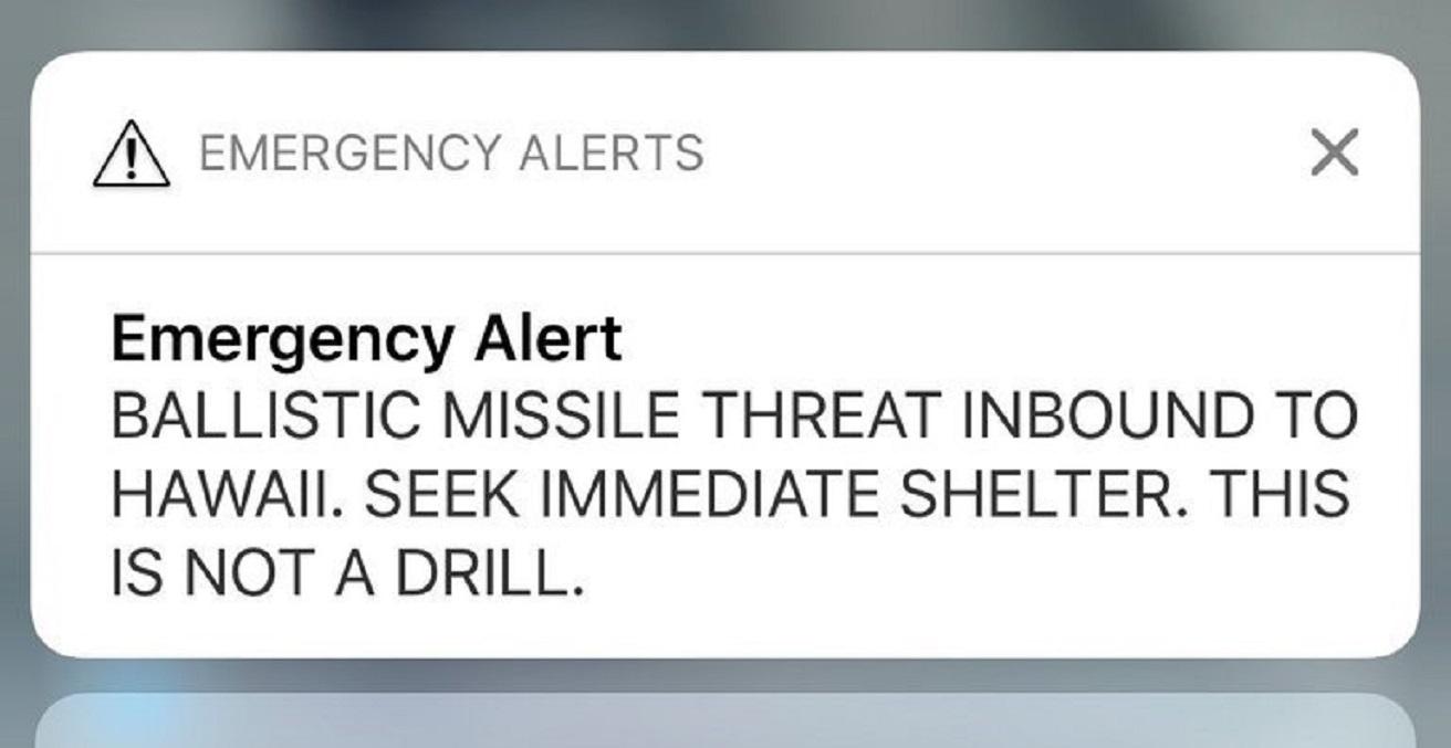 The text received by Hawaiian residents