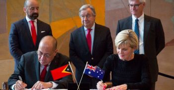 Signing of Timor-Leste/Australia maritime boundray treaty, 6 March 2018. Twitter user: @JulieBishopMP